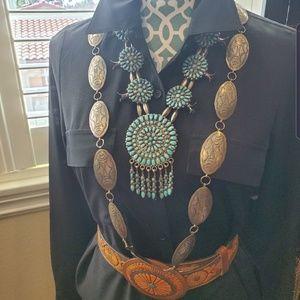 "Vintage Sterling Navajo Concho 41"" Western Belt"